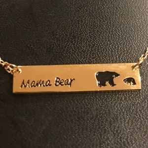 Mama Bear & Cub Mother Necklace Gold (new)
